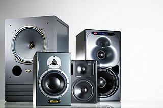 Silver studio monitors