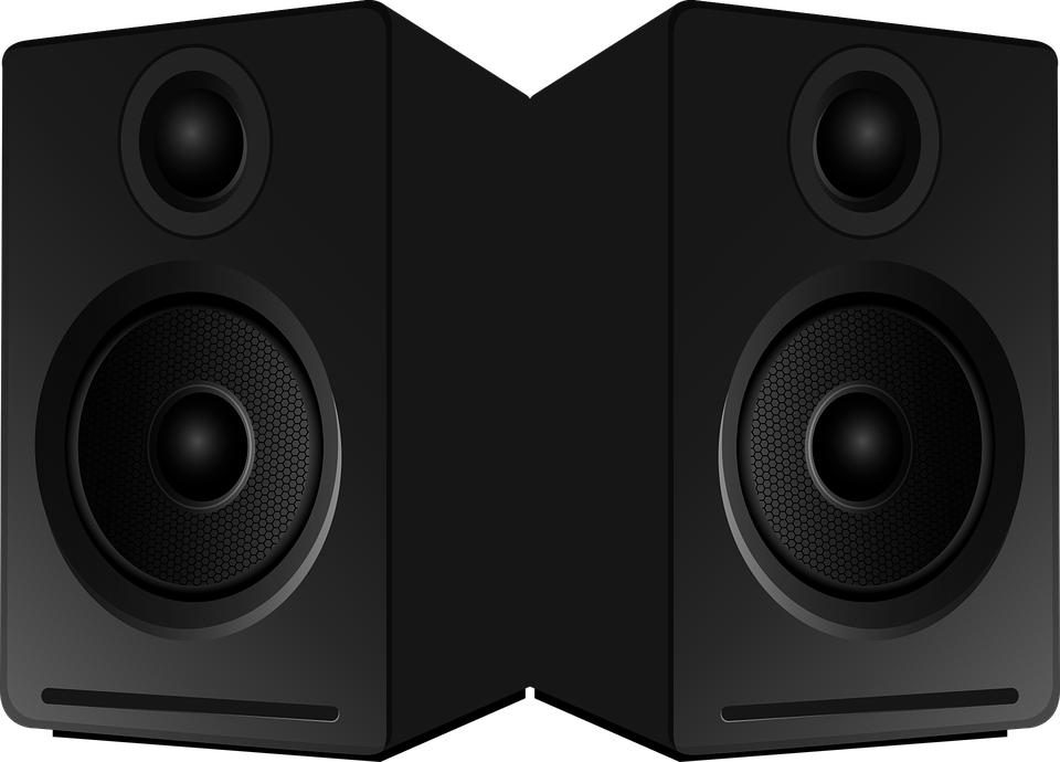 Black studio monitors